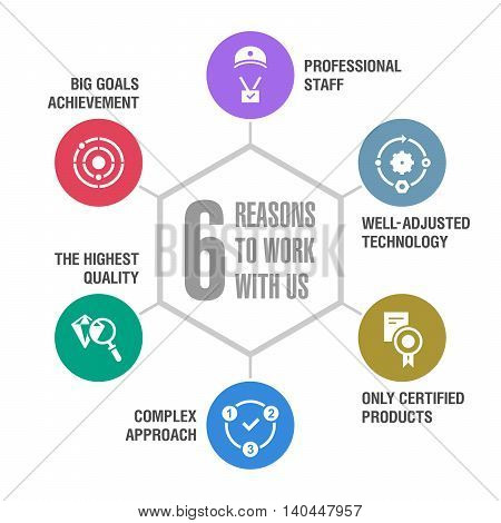 6 reasons to work with us. Infographics. Colored 1.