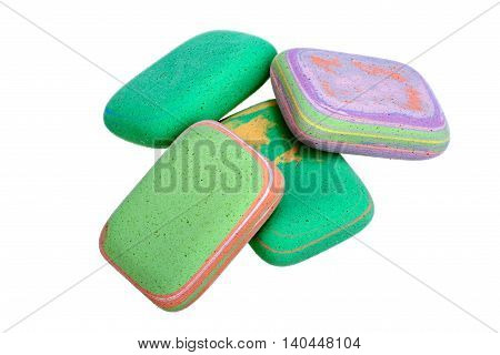 Multicolored erasers isolated on white background with clipping path