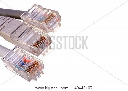 Three network plugs isolated on white background closeup with clipping path