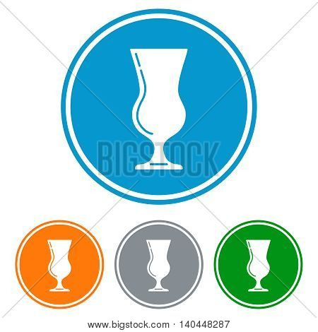 Flat tulip glass for beer icons set vector
