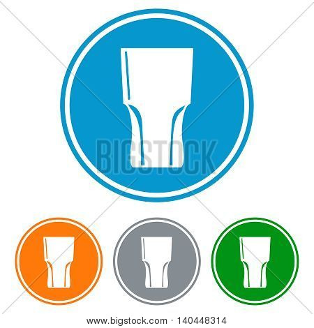 Flat tumbler glass for beer icons set vector