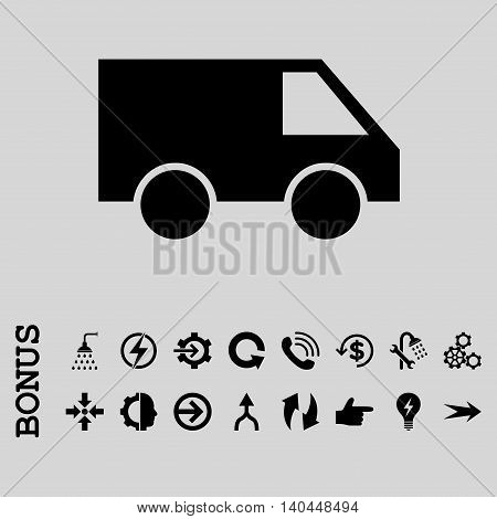 Van vector icon. Image style is a flat iconic symbol, black color, light gray background.