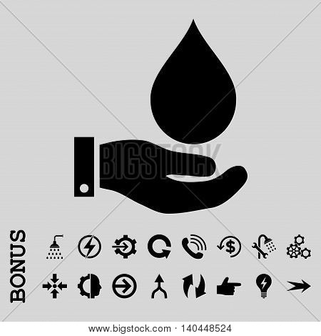 Water Service vector icon. Image style is a flat iconic symbol, black color, light gray background.