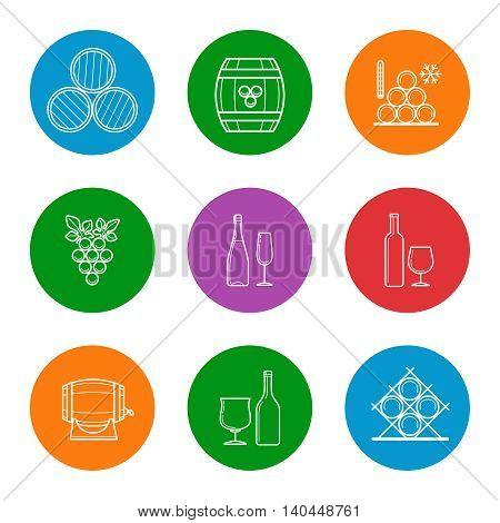 Wine line icons set vector. Barrels, glasses, grape and bottle