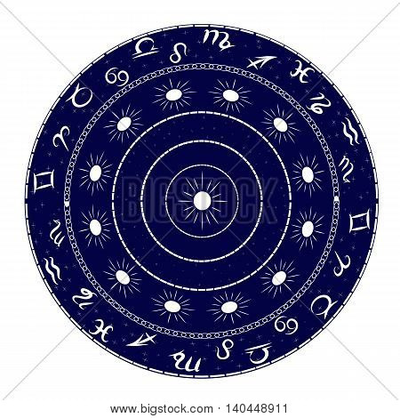 Ornament with elements of the zodiac. Image can be applied to any use including kitchen utensils decorative plates dishes or painting walls.
