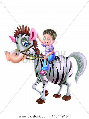 Boy Rod on Zebra isolated on white background