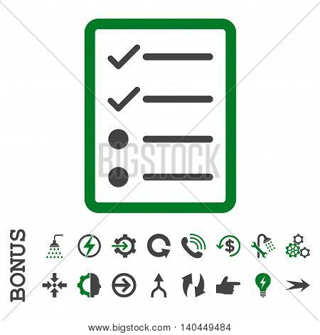 Checklist Page vector bicolor icon. Image style is a flat iconic symbol, green and gray colors, white background.