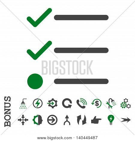 Checklist vector bicolor icon. Image style is a flat iconic symbol, green and gray colors, white background.