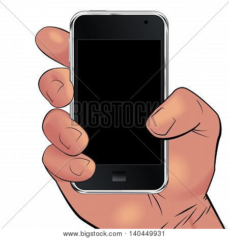 Men hand holding mobile phone isolated on white background. Can be used for logos print products page and web decor or other design. Vector illustration.