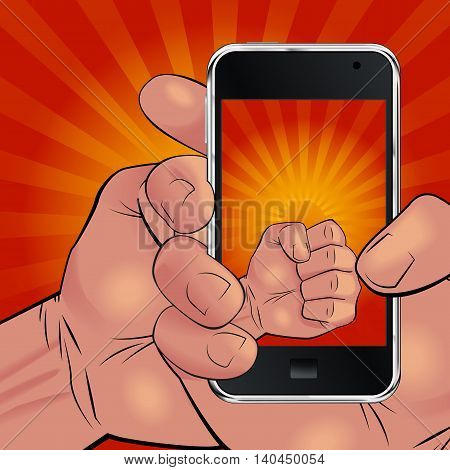 Men hand holding mobile phone and picturing beautiful red and yellow sunrise in the way like he is holding rising sun. Can be used for logos print products page and web decor. Vector illustration.