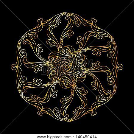 Floral ornament in gold colors on black background