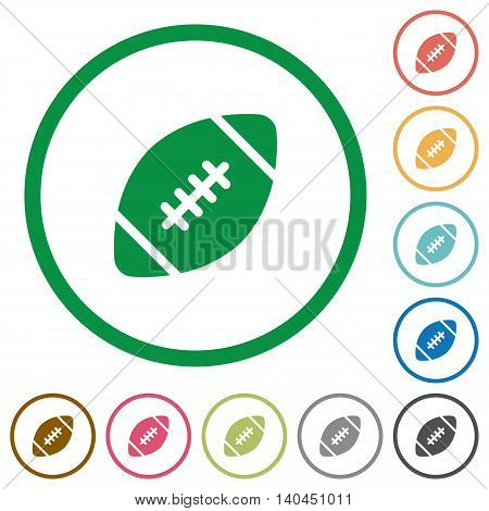 Set of Rugby ball color round outlined flat icons on white background