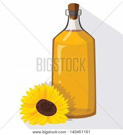Glass bottle of sunflower oil with cork. For your convenience each significant element is in a separate layer. Eps 10.