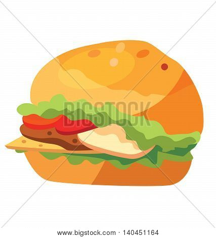 Junk food - fast food - hamburger presented. Eps10.