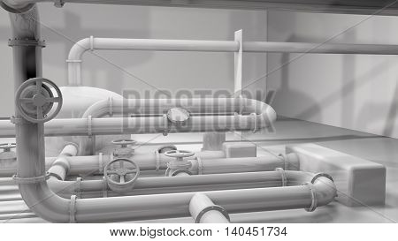 Photo realistic 3D glossy white pipes and control wheels in a pipes structure. Generic industry, technology and engineering background. 3D rendering.