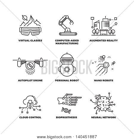 Future technology and robot artificial intelligence outline vector icons. Future machine in linear style, illustration new robot machine