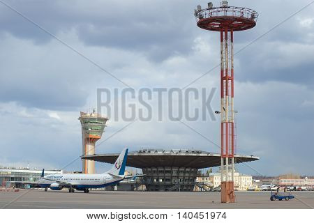 MOSCOW, RUSSIA - APRIL 15, 2015: Planes are at the landing pavilion