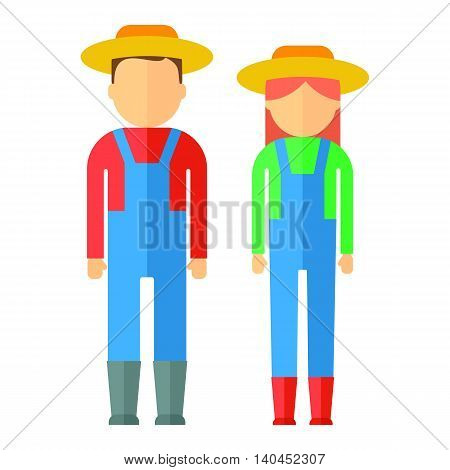 Farmers man and woman dressed in boots hat overalls shirts. Objects isolated on background. Flat and cartoon vector illustration.