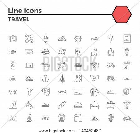 Travel thin line related icons set on white background.Summer holidays, vacation and travel objects. Simple mono linear pictogram pack Stroke vector logo concept for web graphics.