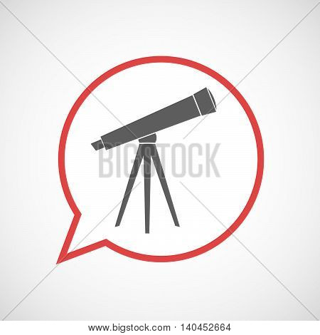 Isolated Comic Balloon Line Art Icon With A Telescope