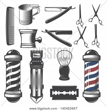 Set of vintage barber shop elements isolated on a white background.