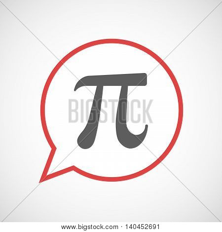 Isolated Comic Balloon Line Art Icon With The Number Pi Symbol