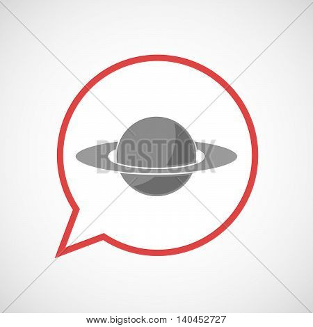 Isolated Comic Balloon Line Art Icon With The Planet Saturn