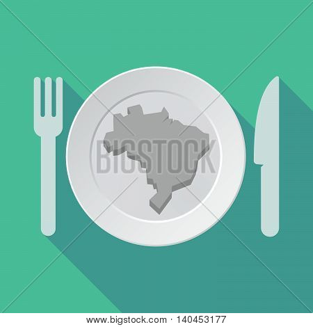 Long Shadow Tableware Vector Illustration With  A Map Of Brazil