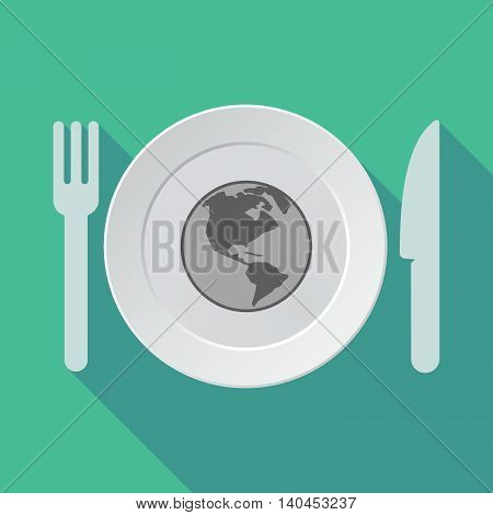 Long Shadow Tableware Vector Illustration With An America Region World Globe
