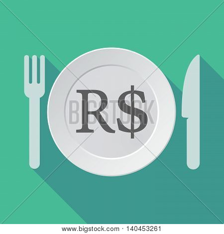 Long Shadow Tableware Vector Illustration With A Brazillian Real Currency Sign