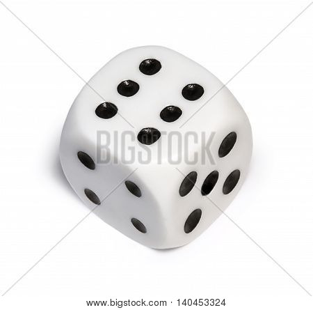 Single dice with number six, isolated on white background