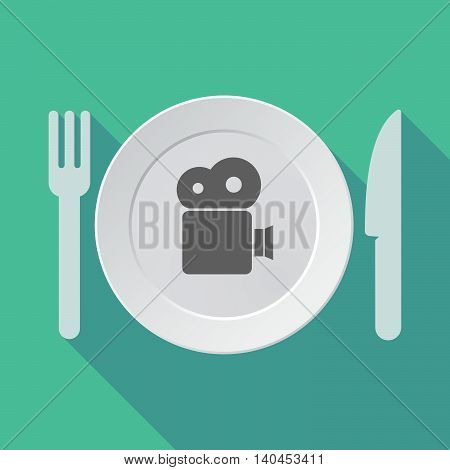 Long Shadow Tableware Vector Illustration With A Film Camera