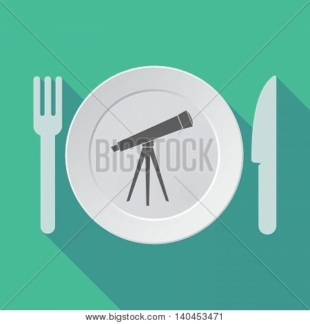 Long Shadow Tableware Vector Illustration With A Telescope