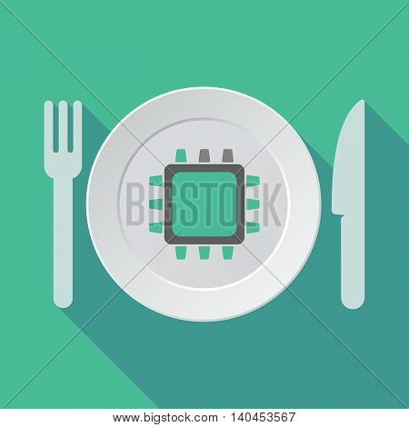 Long Shadow Tableware Vector Illustration With A Work Helmet