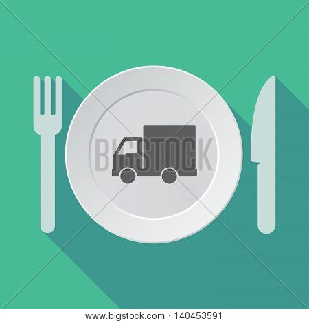 Long Shadow Tableware Vector Illustration With A  Delivery Truck