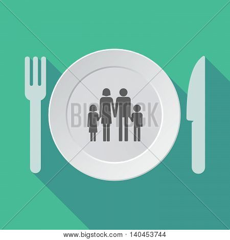 Long Shadow Tableware Vector Illustration With A Conventional Family Pictogram