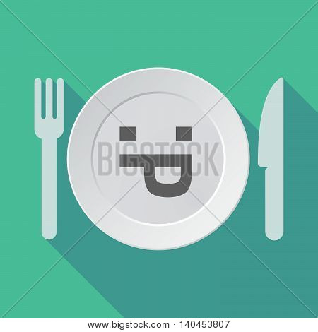 Long Shadow Tableware Vector Illustration With A Sticking Out Tongue Text Face