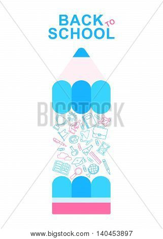 Back To School Banner with color pensil and school supplies lines icons. Cartoon flat vector illustration. Objects isolated on a white background.