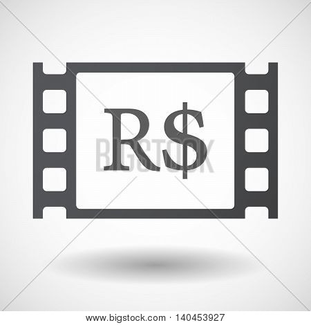 Isolated 35Mm Film Frame With A Brazillian Real Currency Sign
