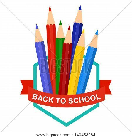 Back To School Logo with color pencils. Cartoon flat vector illustration. Objects isolated on a white background.