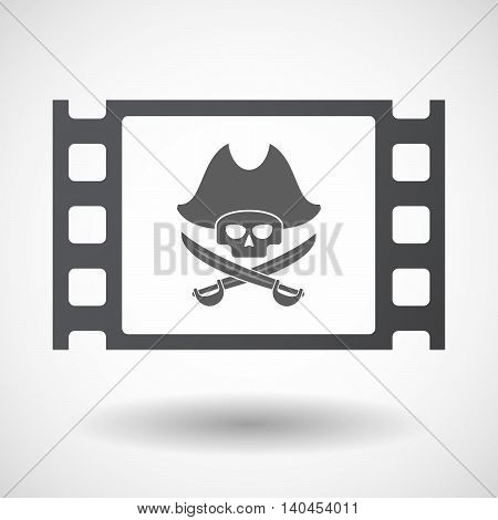 Isolated 35Mm Film Frame With A Pirate Skull