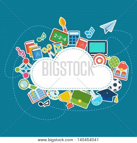 Card with school supplies icons. Textures, backgrounds, logos and templates for promotional materials and fabrics. Cartoon flat vector illustration. Objects isolated on a white background.