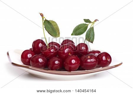 Cherry On A Plate Isolated
