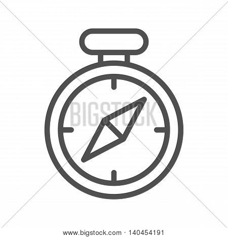 Compass thin line vector icon on white background.