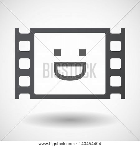Isolated 35Mm Film Frame With A Laughing Text Face