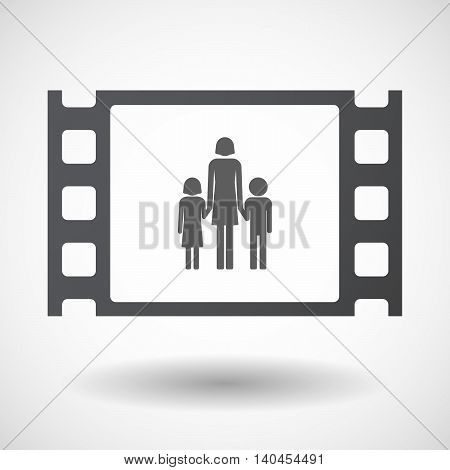 Isolated 35Mm Film Frame With A Female Single Parent Family Pictogram