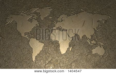 Engraved World Map