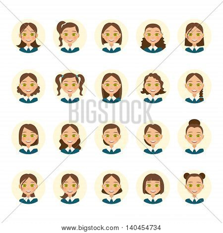 Womens hairstyles. Beautiful young woman with various hair styles. Vector illustration