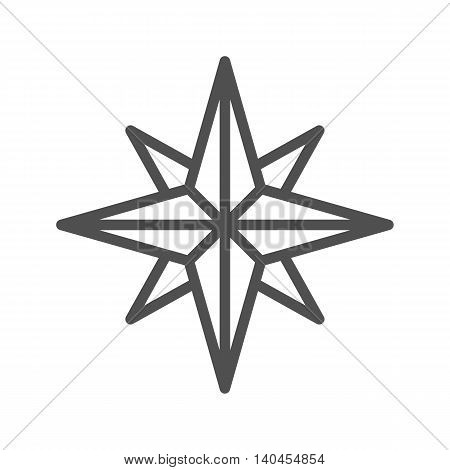 Wind rose thin line vector icon on white background.