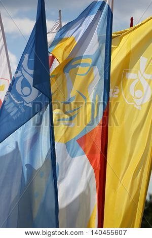 CRACOW POLAND - JULY 22 2016: Flags of World Youth Day 2016 in the Centre of Pope John Paul II in Lagiewniki. Cracow. Poland